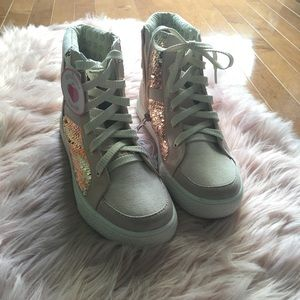 NWT Justice Reversible Sequin Pink High-tops